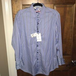 Robert Graham Dress Shirt Burton Down Striped
